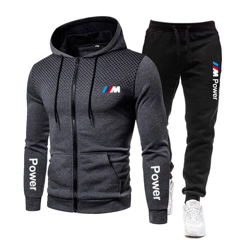 Новинка, мужская спортивная одежда BMW M, 2 предмета, толстовка + брюки, спортивная одежда, мужская толстовка на молнии, мужской костюм, спортив...