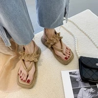 new womens sandals summer new fashion open toe plus size sandals french style leisure beach flip flops female flat sandals