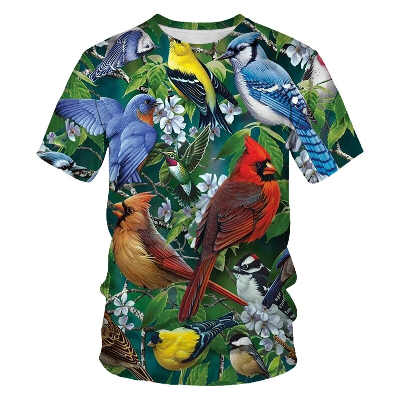 2021 Fashion loose animal bird men's t-shirts funny parrot 3d print casual T-shirt summer breathable elastic oversized t shirt