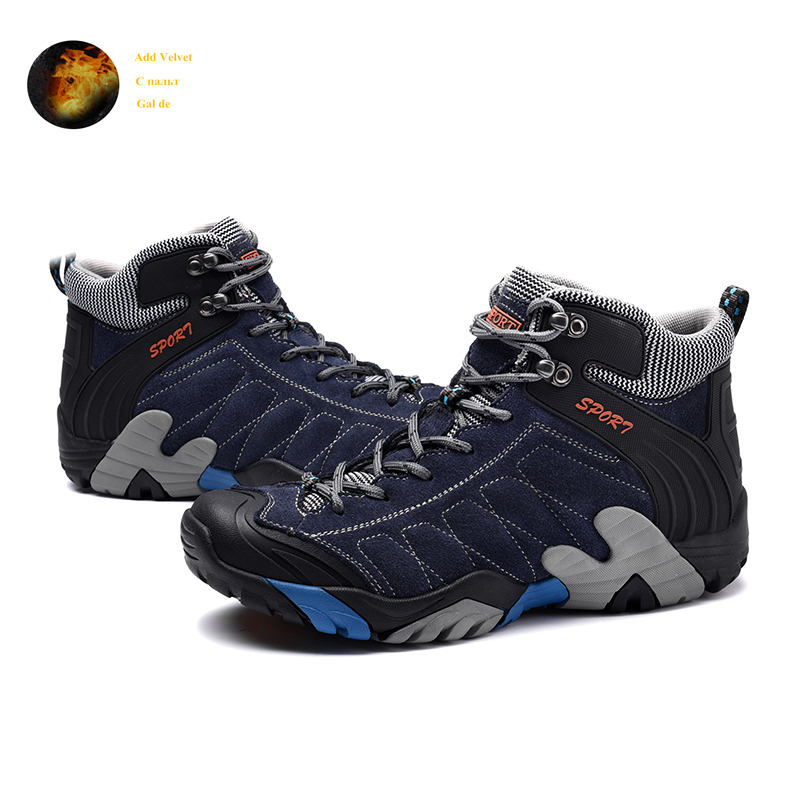 Brand Winter Outdoor Blue Leather Hiking Shoes Men Warm Trekking Boots For Male Non Slip Climbing Mountain Shoes Men Size 38-45