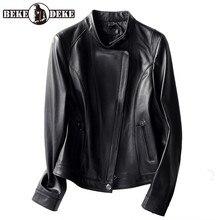 Classic Women Stand Collar Moto Biker Genuine Leather Jacket Slim Fit Short Coat 2020 Spring Autumn Ladies Sheepskin Jacket 4XL