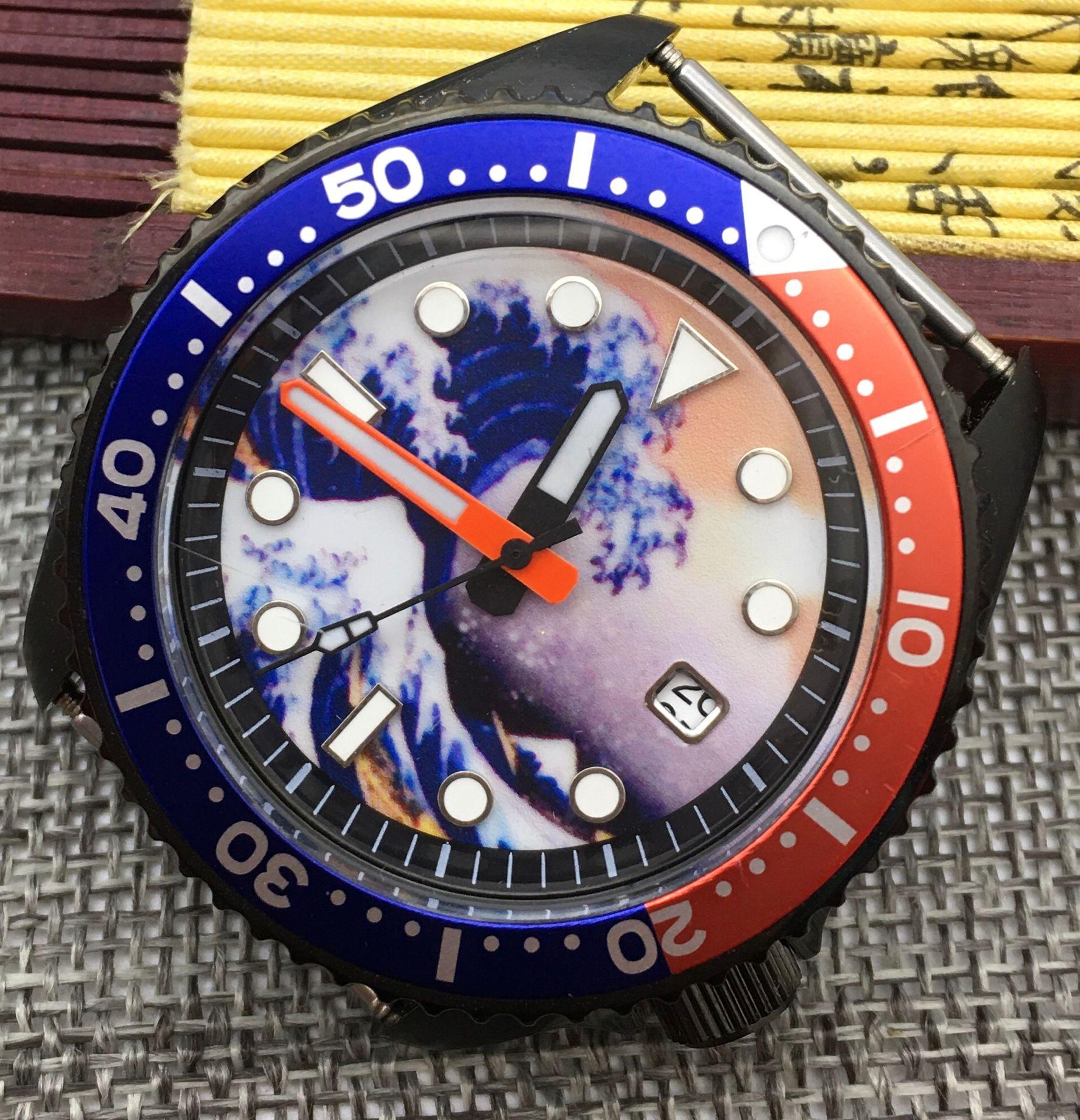 42mm Kanagawa Surf Dial Luminous SK007 Japanese Movement NH35 Watch Mechanical Automatic Men's Watch Coke bezel