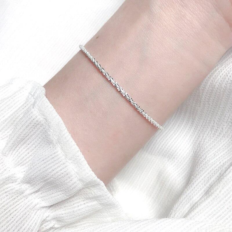 Fina pulsera de cadenas chapadas en plata 925 para mujeres, chicas, amigas, joyería Coreana de moda, joyería de moda