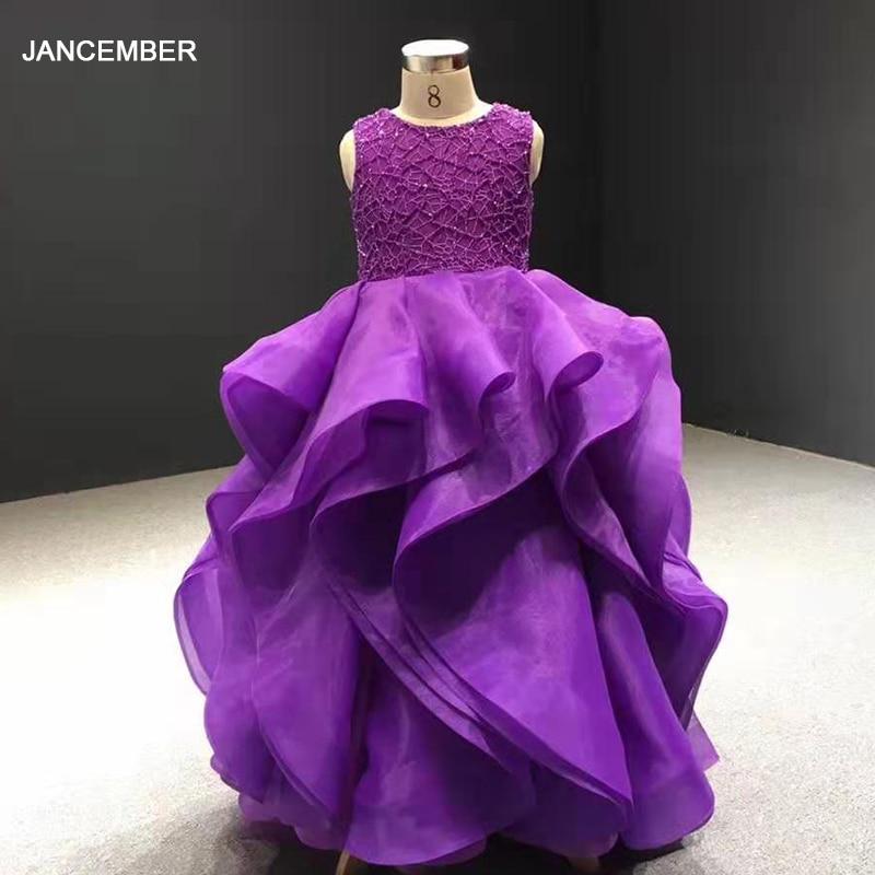 J66720 فستان زفاف بناتي مزهر أرجواني ، فستان زفاف ، رقبة مستديرة ، بلا أكمام ، كشكش ، أربطة ، ثوب الكرة للأطفال ، sukienka komunijna