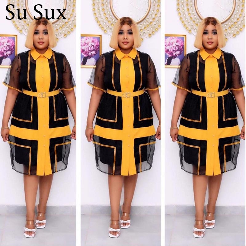 Plus Size Mesh Dress Women Outfits African Clothes Office Lady Turn Down Perspective Patchwork Dress and Black Long Vest 2021