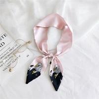luxury brand long women scarf female belt skinny head for ladies silk scarf tie bag ribbons 8610cm