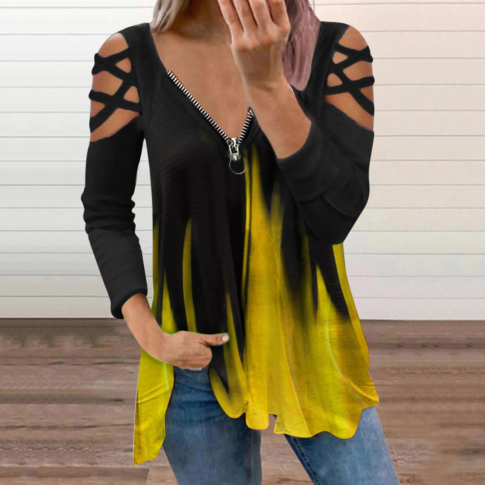 Top informal con cuello en V para Mujer, camiseta De manga larga...