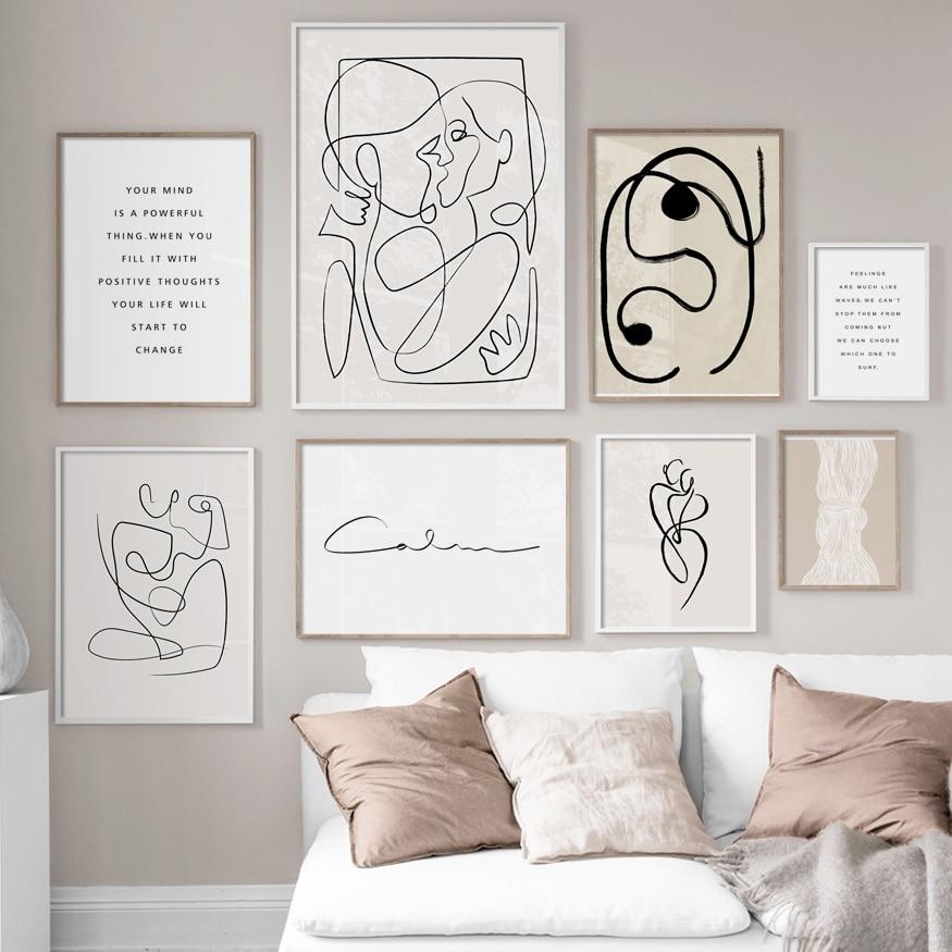 Абстрактная линия тела поцелуй цитаты настенные художественные картины на холсте скандинавские минималистичные плакаты и принты настенные картины для декора гостиной