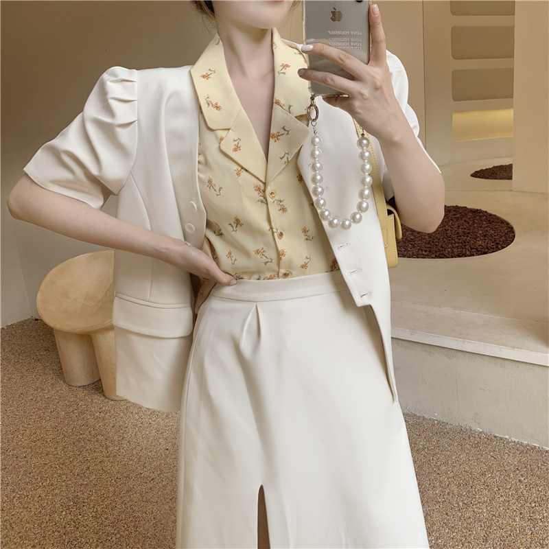 2 PCS women summer blazer coat + floral chiffon shirts 3312#