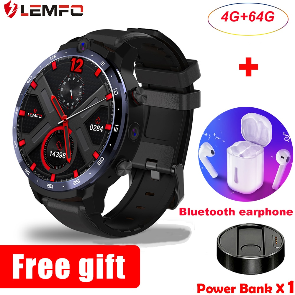 LEMFO LEM12 pro Smart Watch Men Android 10.0 GPS 4+64GB smartwatch 2021 for Android ios phone 900mah big battery wireless