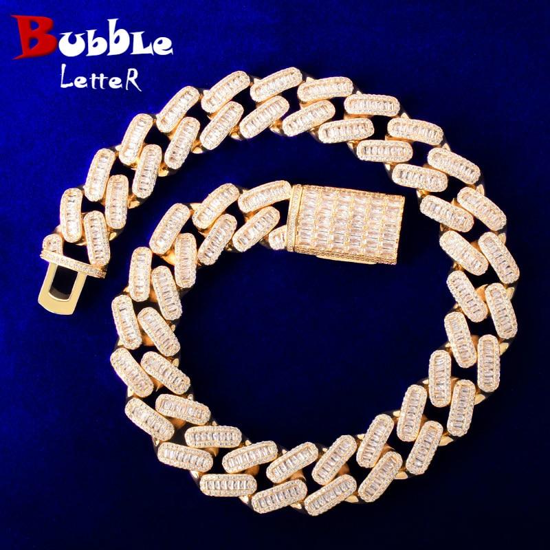 20mm Baguette Zirconia Miami Cuban Chain Men's Hip Hop Necklace Link Bling AAA Zircon Copper Fashion Rock Jewelry