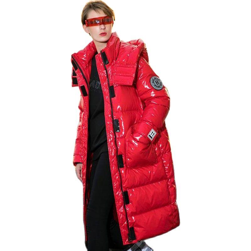 2021 لامعة براءات الاختراع والجلود مقنعين سترة نسائية ثقيلة الشتاء فضفاضة الدافئة سترة من الريش امرأة الوقوف طوق طويل الثلوج معطف امرأة