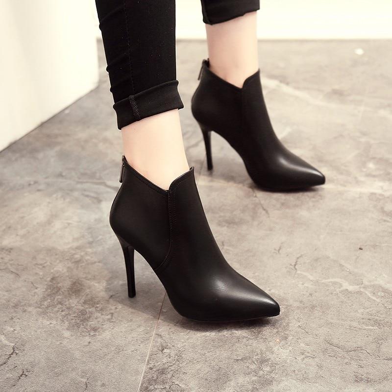 Nuevas botas De Mujer Botines De piel sintética con cremallera botas Zapatos con tacones altos De otoño botas negras De invierno Zapatos De Mujer puntiagudos