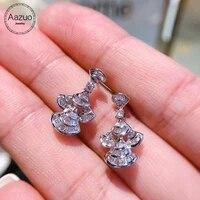 aazuo fine jewelry 100 orignal 18k white gold real diamonds ij si skirt stud earrings for girl friend fashon gift au750