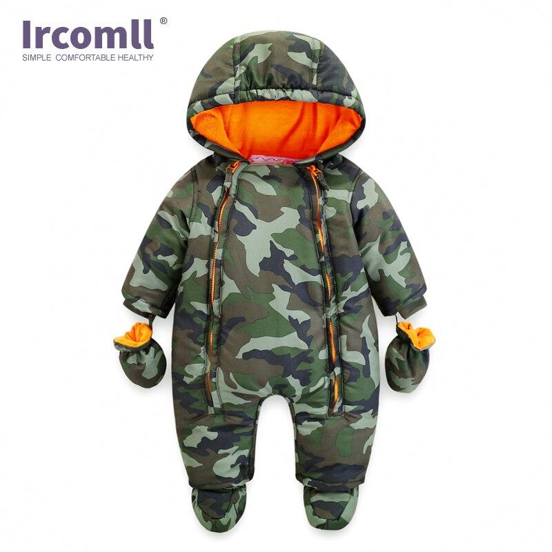Ircomll 2021 ثوب فضفاض للأطفال حديثي الولادة شتاء سميك دافئ للأطفال البنات والأولاد ملابس الرضع كامو زهرة مقنع بذلة للأطفال ملابس خارجية
