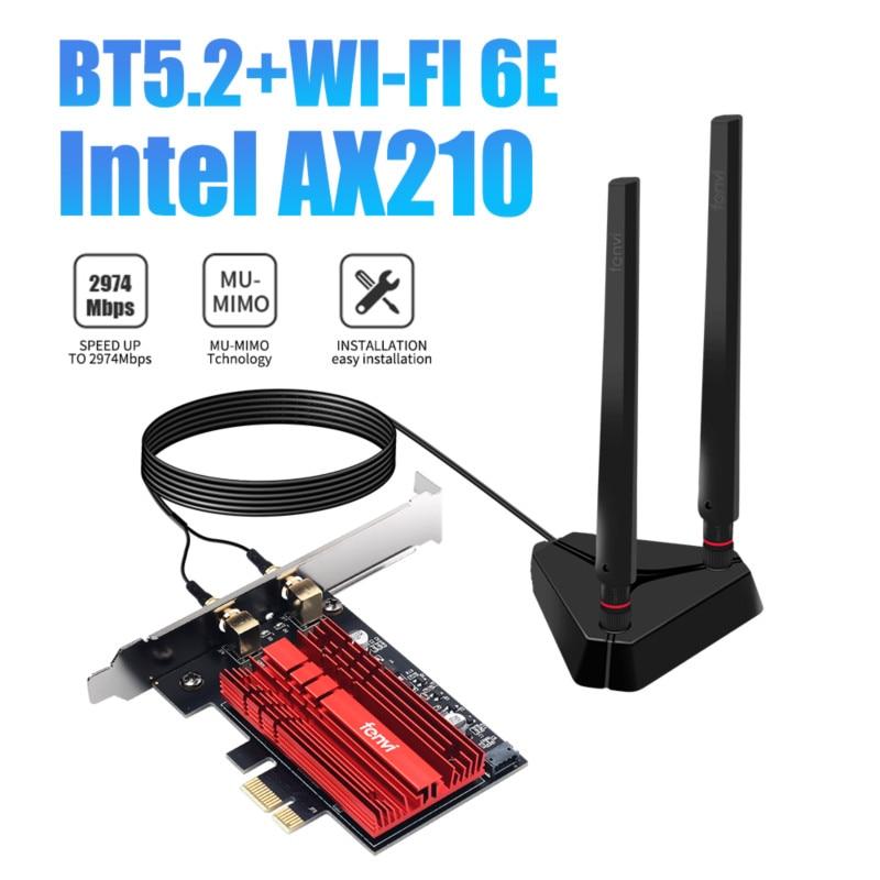 Fenvi 3000 150mbps إنتل AX210 WiFi 6E بكيي محول بلوتوث 5.2 المزدوج الفرقة 2.4G/5G/6Ghz 802.11ac/ax Win10 MU-MIMO سطح المكتب Wlan بطاقة