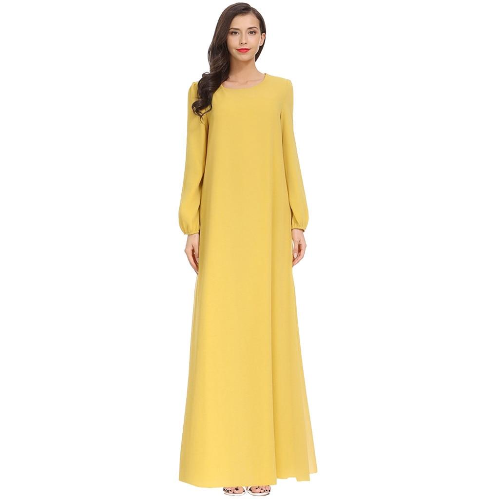 Vestido de verano de mujer vestido bohemio de mujer musulmán Plius tamaño sólido de manga larga de gasa árabe vestido islámico 8,20
