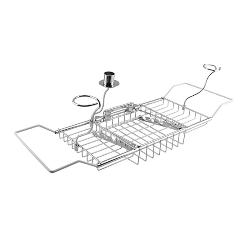 فوق حوض الاستحمام رفوف دش منظم حوض الاستحمام العلبة صينية مع تمديد الجانبين