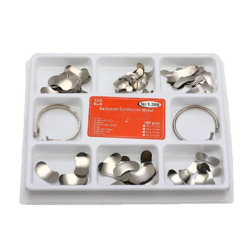 100 piezas de matriz Dental Seccional de Metal contorneado Matrices bandas de matriz Dental anillos de dientes completos de reemplazo de Dentsit