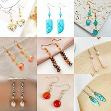 Sweet Romantic Natural Stone Earrings for Women Girls Mixed Earrings Stainless Steel Crochet Earring