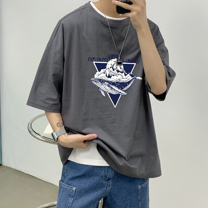 Summer Ins Hong Kong Style Half Men Hip-Hop Fashion Couple Original Loose round Neck Base Short Slee