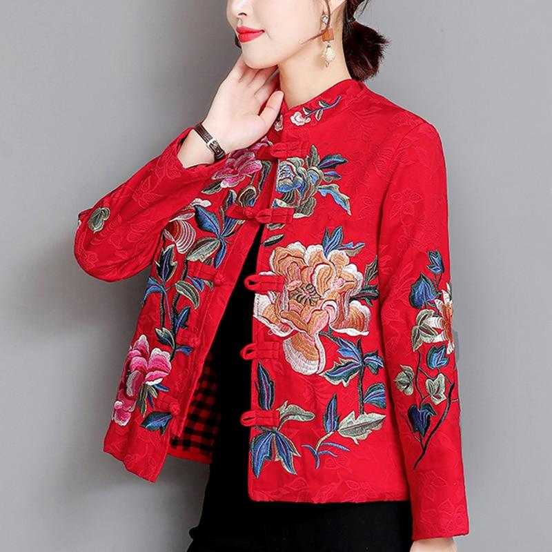 Chaqueta bordada de estilo chino para mujer chaqueta de manga larga de otoño e invierno 2019 abrigo corto con botones de pecho único 2XL