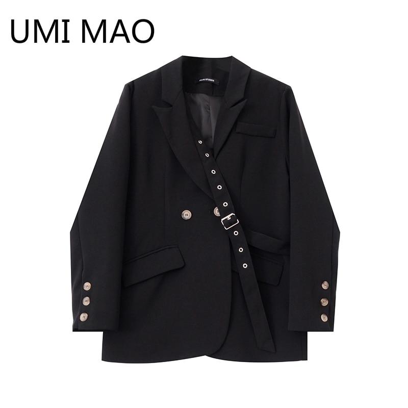 UMI ماو الأسود دعوى صغيرة الإناث 2021 الربيع والخريف جديد المتخصصة تصميم تحسس الدانتيل رداء فضفاض غير رسمي سترة