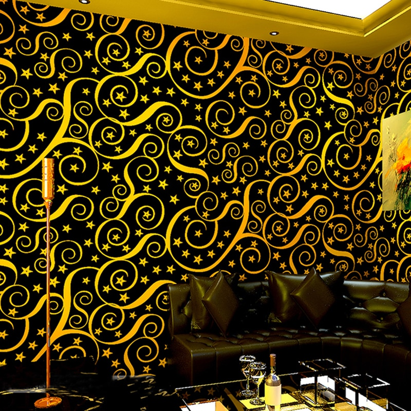 Papel pintado ktv de moda 3d estrellas amarillo rojo azul línea curva papeles pintados para Bar rollo café Pared de tienda calcomanías proyecto papel de pared J135