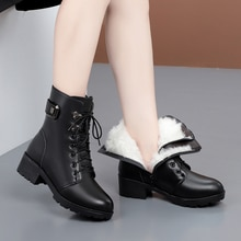 AIYUQI Winter Boots Women Genuine Leather New Wool Warm Non-slip Ladies Ankle Boots Plus Size 41 42