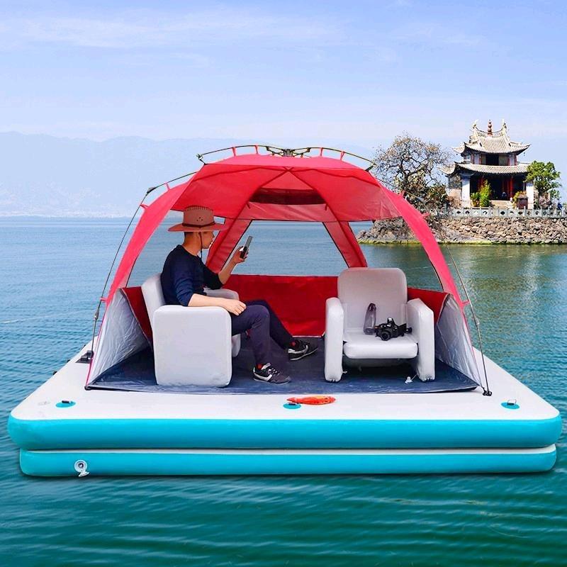 Inflatable floating platform magic carpet fishing platform boat yacht floating floating platform fishing boat outboard motor