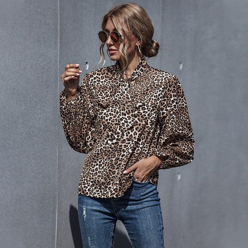 MOVOKAKA New Autumn Sexy Leopard Blouse Women Long Sleeve Womens Shirt Casual Blouses Elegant Loose