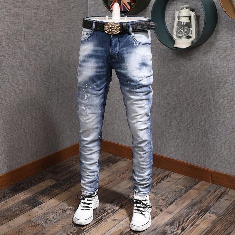Итальянские брендовые модные мужские джинсы в стиле ретро светло-серые синие зауженные рваные джинсы Мужские Простые потертые дизайнерски...
