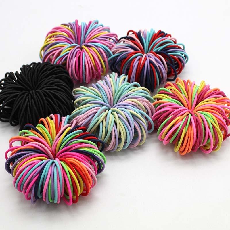 100 pçs/lote 3 cm bonito menina rabo de cavalo suporte para o cabelo acessórios para o cabelo fino elástico faixa de borracha para crianças colorido laços de cabelo