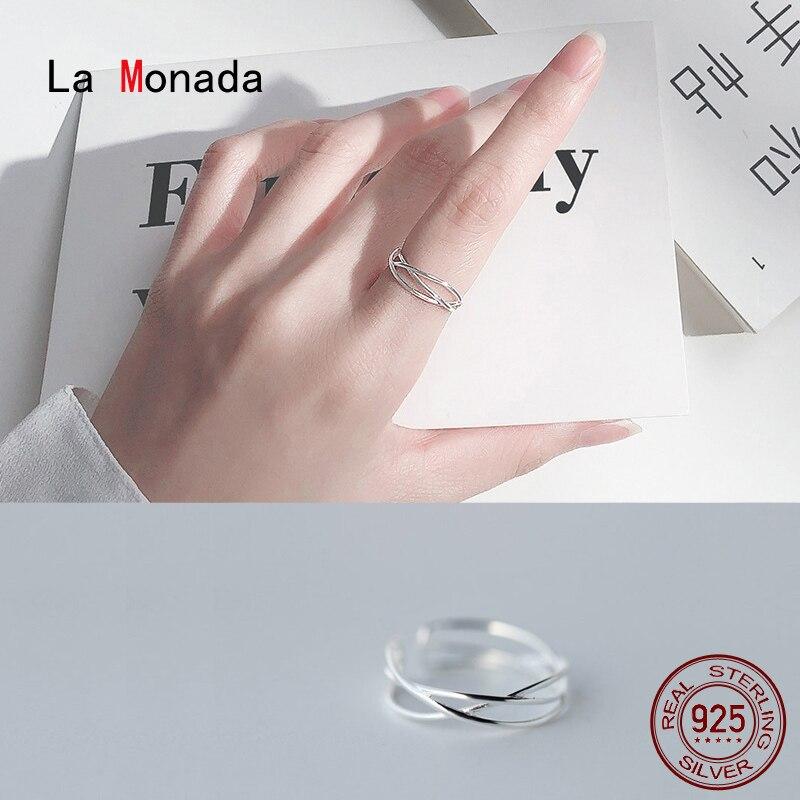 La Monada Cross Weave Resizable Frauen Ring 925 Sterling Silber Minimalis Ringe Für Frauen 925 Silber Feine Jewerly Ringe Frau