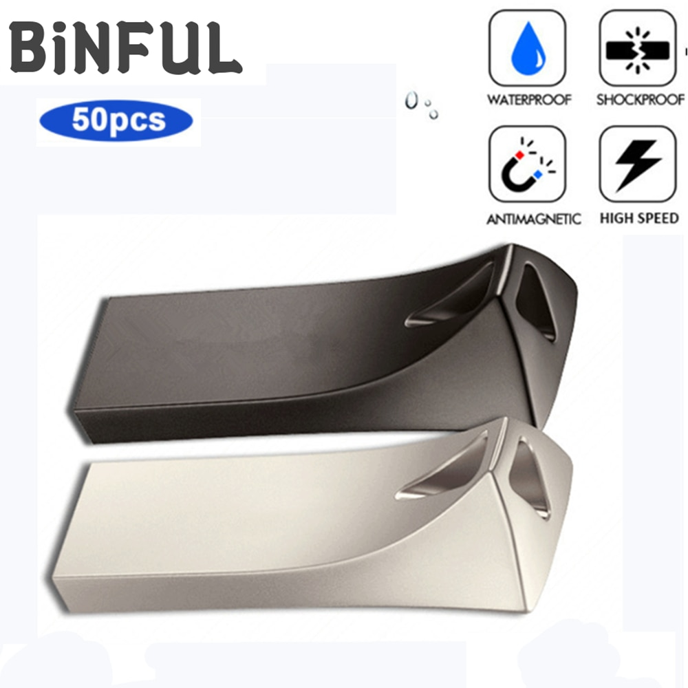 BiNFUL 50pcs PenDrive Metal waterproof Usb Flash Drive High Speed 2.0 Pen drive Flash Memory Stick 4G 8G 16G 32G Free print Logo