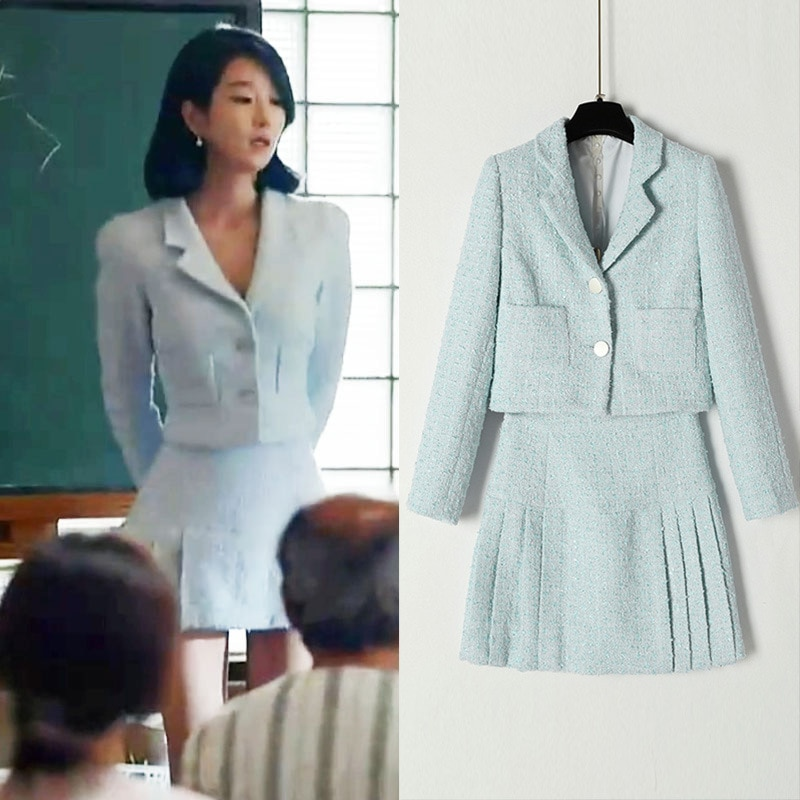 KPOP Seo Yea Ji موضة جديدة السماء الزرقاء قصيرة جاكيتات معطف و تنورة ألف خط دعوى الكورية أنيقة عالية الجودة المرأة قطعتين مجموعة