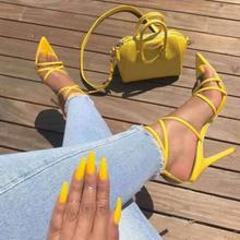 CRRCRRCRR Ankle Strap Women Sandals Pointed Toes Stiletto High Heels Summer Dress Women's Pumps Plus