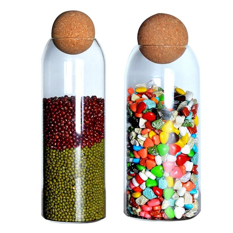 2 قطعة الكرة الفلين خالية من الرصاص الزجاج جرة مع غطاء شفافة أوعية الحفظ 800 مللي و 1200 مللي