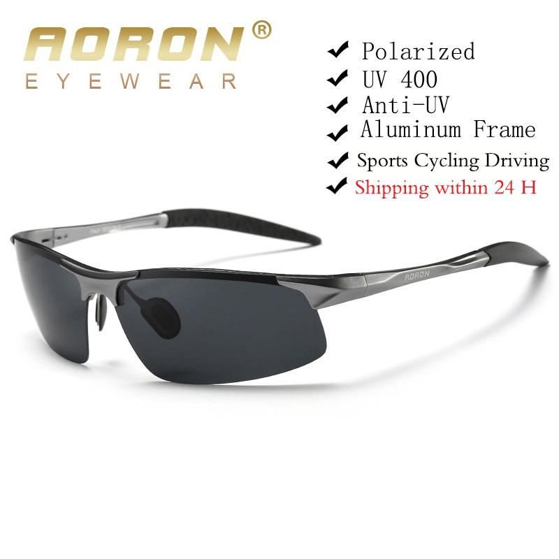 AORON Driving Polarized Sunglasses Men Aluminum Magnesium Frame Sport Sun Glasses Driver Retro Goggl