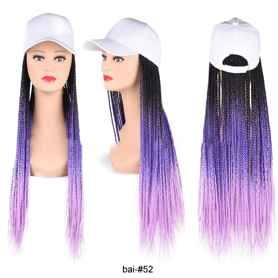 Synthetic Baseball Cap Wig with Long Colorful Box Braids Wigs For Afro Black Women Adjustable White Hat Wig For Girls BY202