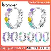 Женские Разноцветные серьги-кольца bamoer из серебра 925 пробы с эмалью в форме сердца, радужные модные украшения для девушки, подарок SCE909