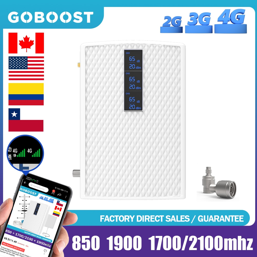 4G Signal Booster Tri-Band 850 1900 1700/2100 mhz Phone 2G 3G Cellular Repeater GSM Repeater DCS UMTS Signal Amplifier 70dB Gain