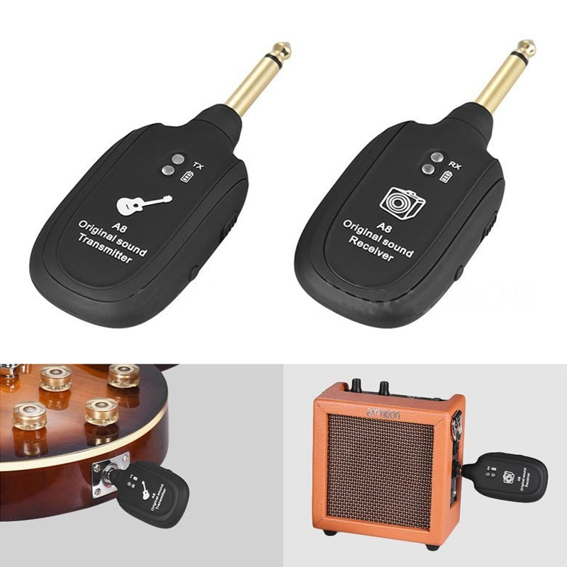 uhf transmitter guitar wireless guitar system transmitter Receiver Built-in Rechargeable wireless guitar transmitter enlarge