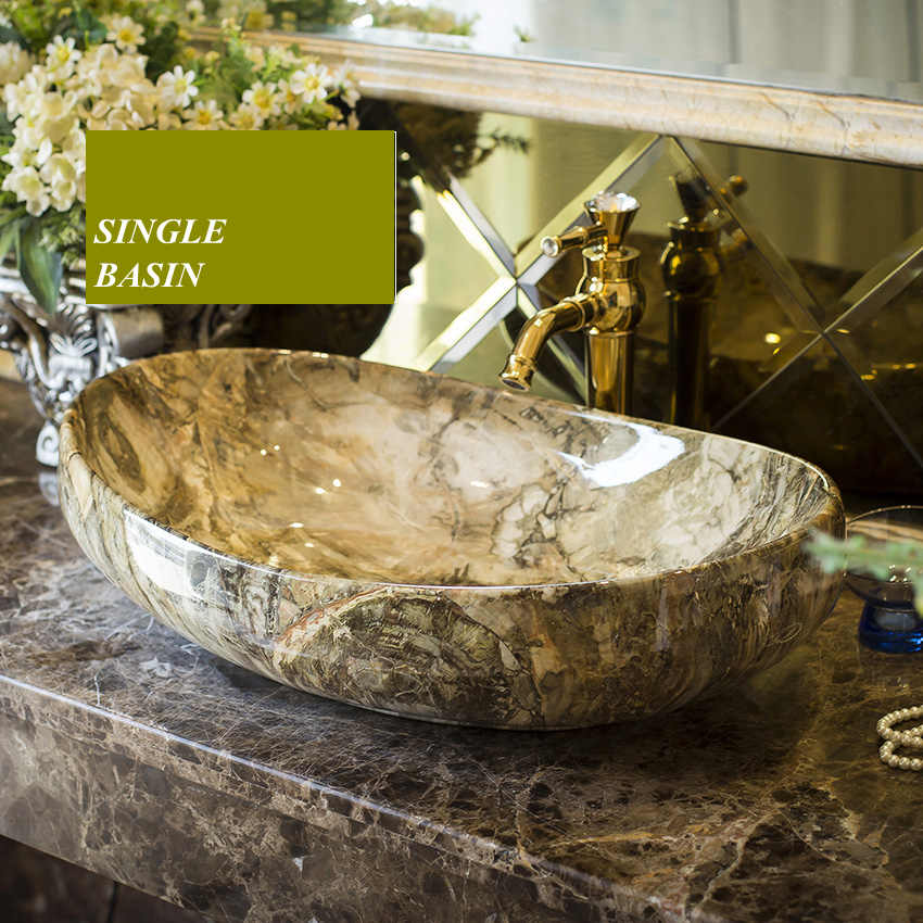 Ceramic art basin, basin on the stage, oval wash basin, European toilet, wash basin, marble basin