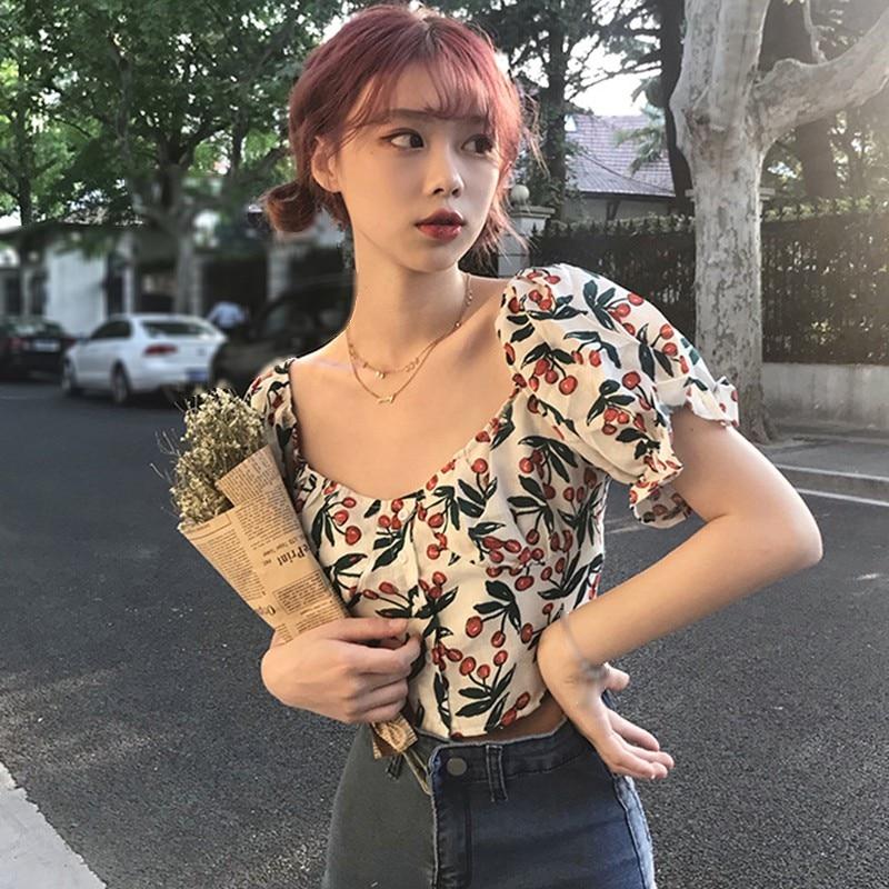 Blusa doce plissado de impressão de cerejeira de gola quadrada de manga comprida feminina de verão
