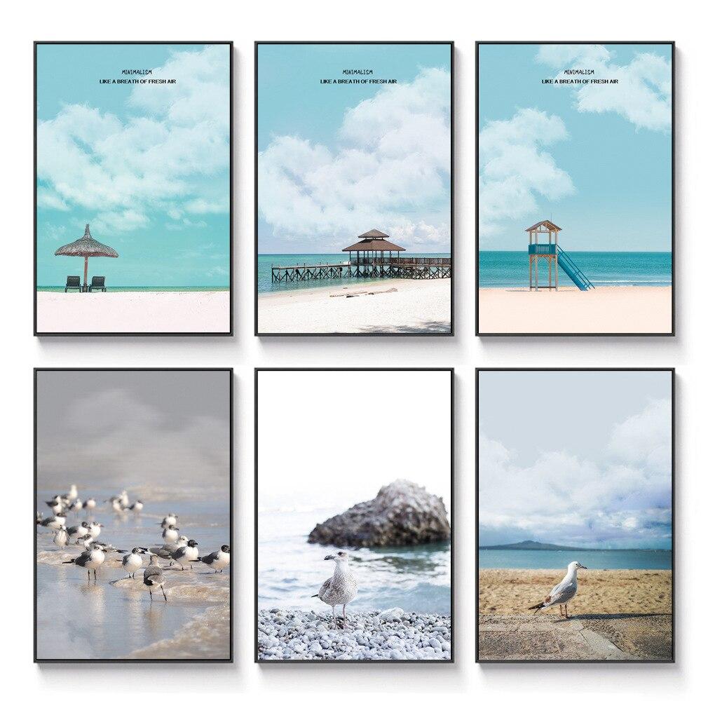 Pintura en lienzo para decoración de sala directa de fábrica, pintura nórdica para paisaje de playa, playa, Hotel, apartamento, arte moderno