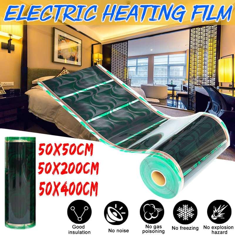 220V 50cm x 0,5 m/2m/4m PTC инфракрасная напольная нагревательная пленка для пола, коврик для подогрева пола из кристального углеродного волокна, лами...