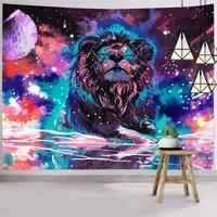 2020 new fashion modern psychedelic starry sky lion tapestry hippie room wall rectangular tapestry artist home decoratiolg814 22