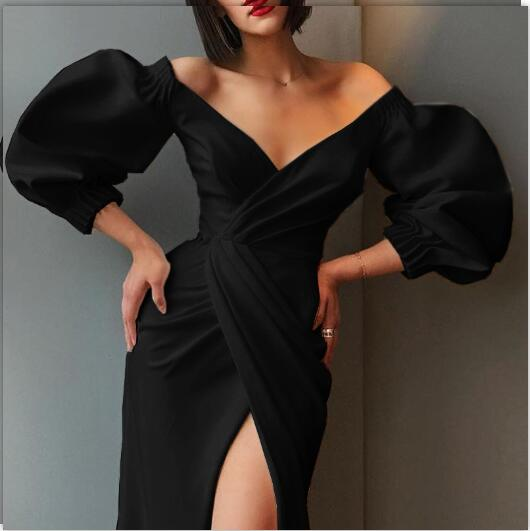 Sexy Puff Sleeve V-neck Irregular Dress Women Fashion Long 2021 Dresses High Quality Steetwear Waist Asymmetric