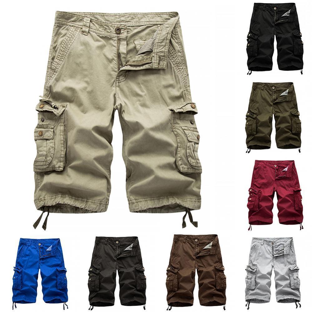 hot new men multi pockets casual pants loose knee length overall camo cargo pants plus size 4 colors men s summer pants 50% Hot Sales Casual Men\'s Solid Color Summer Multi-PocketsCargo Shorts Loose Fifth Pants